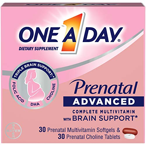 One A Day Womens Prenatal Advanced Complete Multivitamin with Brain Support* with Choline, Folic Acid, Omega-3 DHA…