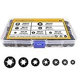 Sutemribor 7 Sizes Internal Tooth Starlock Washers, Quick Speed Locking Washers, Push On Speed Clips Fasteners Assortment Kit, 500PCS
