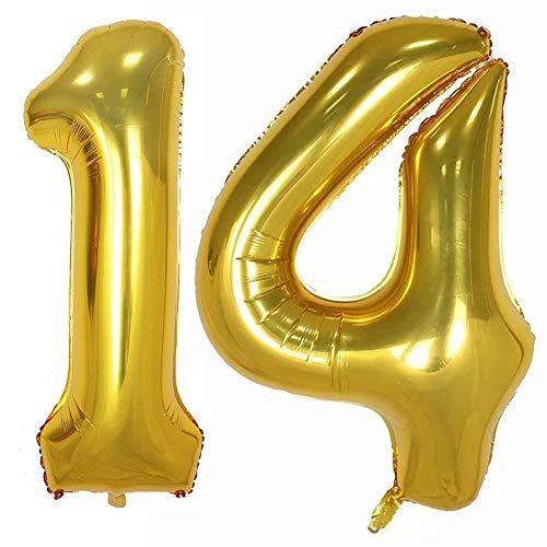 Tellpet Gold Number 14 Balloon, 40 Inch]()