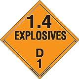 Labelmaster PSR72 Explosive Class 1.4 D Hazmat Placard, Removable Vinyl (Pack of 25)