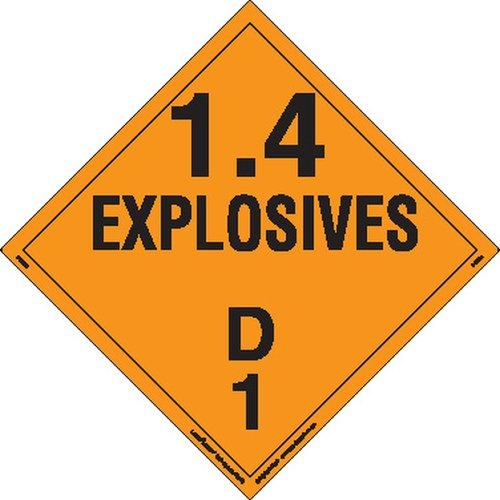 Labelmaster PSR72 Explosive Class 1.4 D Hazmat Placard, Removable Vinyl (Pack of 25)