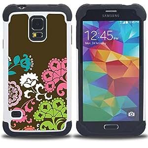 - flowers pattern brown pink green/ H??brido 3in1 Deluxe Impreso duro Soft Alto Impacto caja de la armadura Defender - SHIMIN CAO - For Samsung Galaxy S5 I9600 G9009 G9008V