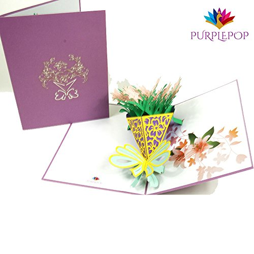 - PurplePop Pop Up 3D Lily Flower Bouquet with Envelope - Laser Cut Flowers Popup Greeting & Invitation Card - Perfect for Anniversary, Wedding, Birthday, Thank You, Valentines