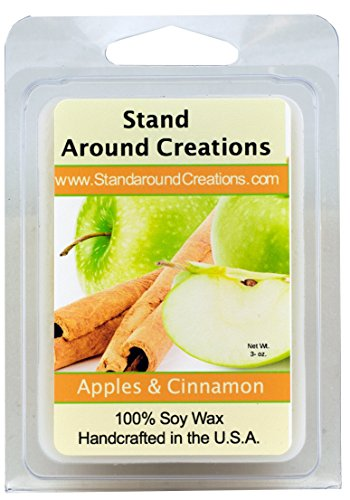100% All Natural Soy Wax Melt Tart - Apples & Cinnamon: The aroma of a red juicy McIntosh apple, sprinkled with fresh ground cinnamon sticks. - 3oz - Naturally Strong Scented