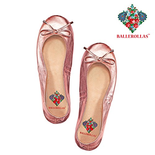 36 shoes in after leather genuine 100 pink size flats Foldable BALLEROLLAS party 7fpcPWqw
