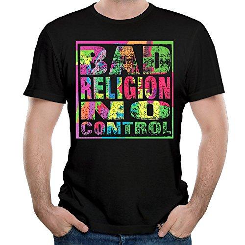 Douglas-A Mens Tshirt-Funny Bad Religion No Control Black (Funny Religion Tee T-shirt)