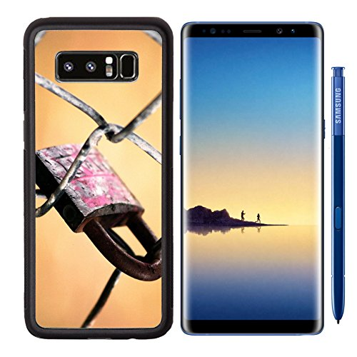 MSD Premium Samsung Galaxy Note8 Aluminum Backplate Bumper Snap Case IMAGE ID: 6209734 old rusted lock on (Raw Fence)