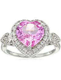 Women's Sterling Silver Created Pink and Created White Sapphire Heart Ring, Size 7