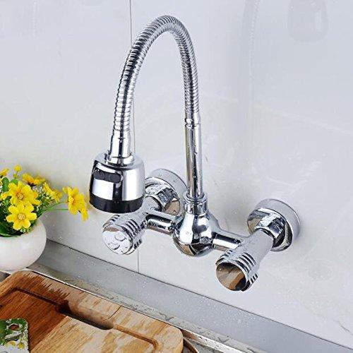 CZOOR Wandmontage Küchen Dual Griff Flexibler Schlauch Mischer-Hahn-Heißes und kaltes Wasser-Hahn