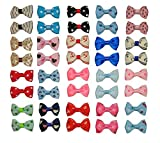 Top-Elecmart 40pcs/20pairs New Dog Hair Clips Small Bowknot Pet Grooming Products Mix Colors Varies Patterns Pet Hair Bows Dog Accessories