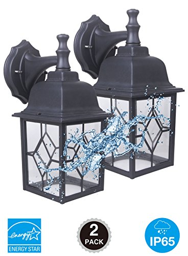CORAMDEO Outdoor LED Wall Lantern, Wall Sconce 11W Replace 100W Traditional Lighting Fixtures, 1000 Lumen, Water-proof, ETL and Energy Star Certified (5000K), 2-Pack - Energy Star Wall Lighting