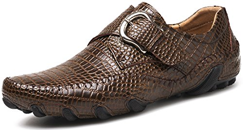 ZINGYOU Men's Leather Driving Shoes, Casual Flexible Slip-on Loafers, MOC Flat Shoes (10US D(M), Brown)