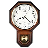 Hot Selling Traditional Schoolhouse Pendulum Wall Clock Chimes Every Hour With Westminster Melody Made in Taiwan, 4AA Batteries Included ( PP0258-W Wooden Grain)