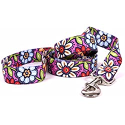 Yellow Dog Design Pink Garden Dog Leash-Size Small/Medium-3/4 Inch Wide and 5 feet (60 inches) long