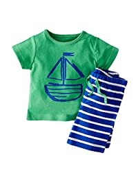 Baby Boys' Short Sleeve Sailor T-Shirt Stripe Shorts Set