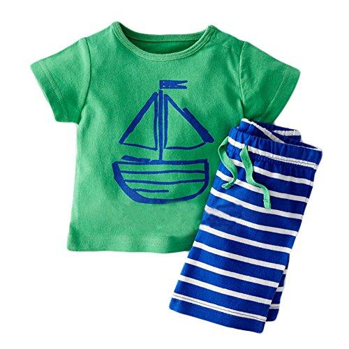 Baby Boys' Short Sleeve Sailor T-shirt and Stripe Shorts Set (Sailor Pattern Stripe)