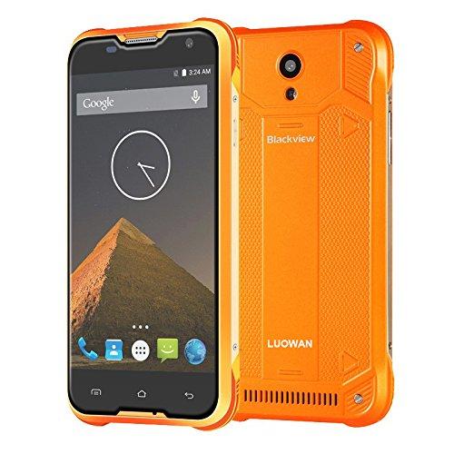 Blackview BV5000 5,0'' Zoll 4G-LTE-Smartphone Quad-Core 2GB+16GB Dual SIM Wasserdicht Handy Ohne Vertrag Android 5,1 13MP+5MP Kameras GPS OTG Staubdicht (orange)