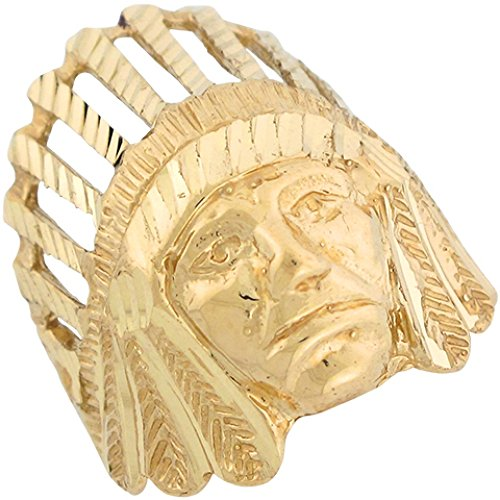 14k Yellow Gold Native American Tribal Head Large Ring