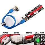 Ubit 6 Pack Latest PCI-E Riser Express Cable 16X to 1X (6pin / MOLEX/SATA) with Led Graphics Extension Ethereum ETH Mining Powered Riser Adapter Card+60cm USB 3.0 Cable