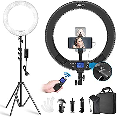 Amazon Com Switti 60w 19 Inch Ring Light With Stand And Phone Holder Bi Color 3000k 5800k Led Circle Light For Youtube Video Recording Facebook Live Makeup Blogging Camera Photo