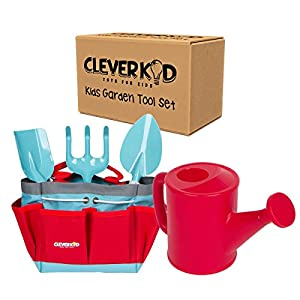 Kids Gardening set By Clever Kid Toys - Includes Sturdy Tote Bag, Watering Can, Shovel, Rake, and Trowel - Kids Garden Tools