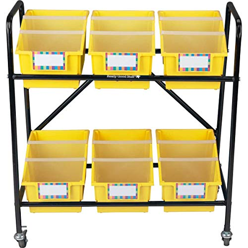Really Good Stuff Mid Size Mobile Storage Rack with Chapter Book Bins