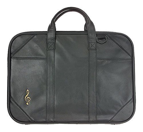 Leather Musical Instrument Folio-style Briefcase Treble Clef Motif For...