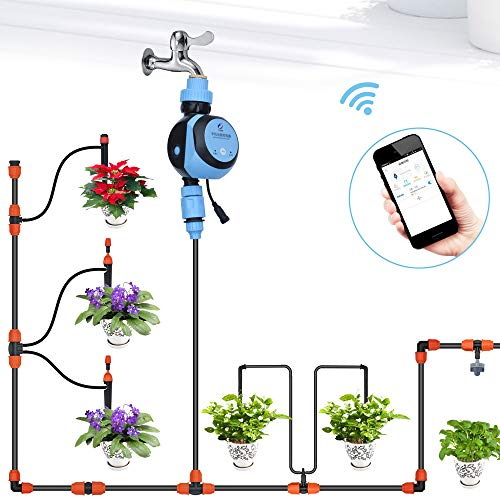 Decdeal Faucet Water Timer, with WiFi Phone Remote, Hose Faucet Timer Water Gateway 3/4in or 1/2in Tap Automatic Garden Irrigation Digital Watering Timer AC Adapter Powered