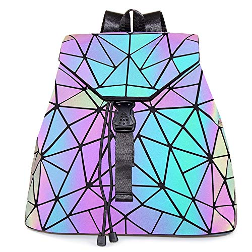 HotOne Geometric Backpack Holographic Reflective Backpacks Fashion Backpack (Luminous Crack Drawstring Backpack) -