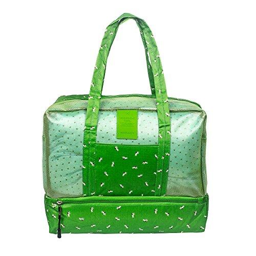 Fency Beach Bag Dry Wet Separate Waterproof Swimming Storage Handbag Zipper Tote (Green - Shopping In Vero Beach
