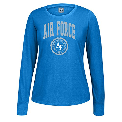 J America NCAA Air Force Falcons Women's Athletic Seal Long Sleeve Essential Tee, Large, ()