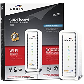 ARRIS SURFboard N300 DOCSIS 3.0 Cable Modem Router (SBG6400) Certified with Comcast Xfinity, Time Warner Cable, Charter, Cox, Cablevision, and more (White Retail Packaging)