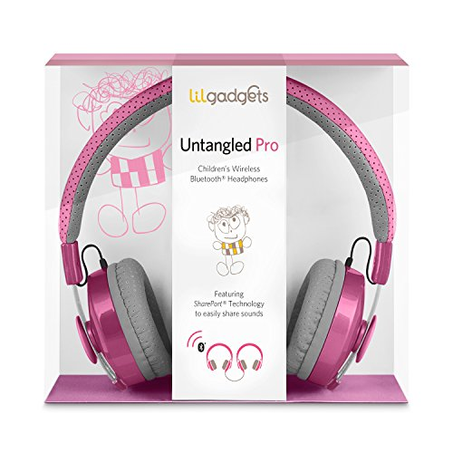 LilGadgets Untangled Pro Premium Children's Wireless Bluetooth Headphones with SharePort - Pink (Toddler Headphones Wireless)