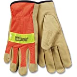 Kinco 909 Unlined Grain Pigskin Leather High Visibility Glove with Orange Nylon Mesh Back, Work, Large, Palomino (Pack of 6 Pairs)