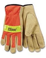 Kinco 909 Unlined Grain Pigskin Gloves with Hi-Vis Orange Mesh Back & Scotchlite