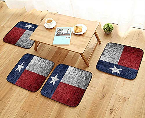 Elastic Cushions Chairs Texas State Flag Painted on Luxury Crocodile Texture for Living Rooms W29.5 x L29.5/4PCS -