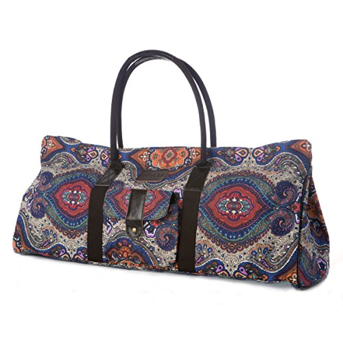 Yoga Mat Tote Bag Carrier Patterned Canvas with Pocket and Zipper (Celestial)