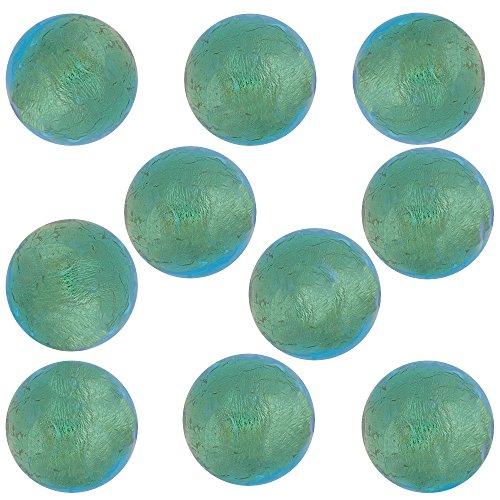 - Light Aqua Round 6mm 24kt Gold Foil Murano Glass Bead Encased, 10 Pieces