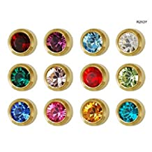 Studex Universal Ear Piercing Instrument Kit R997 with 24 pairs gold birthstones and ball