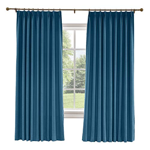 Drapifytex Pinch Pleated Drapery Faux Linen Room Darkening Curtain 56 Inches Width by 108 Inches Length, Bedroom Curtain Livingroom Curtain, Navy Blue