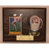 Baseball & Trading Card Wall Mount Personalized Wood and Acrylic Display Case with Walnut Finish Plaque - Free Engraving