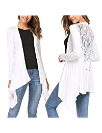Meaneor Women's Cover Up Waterfall Cardigan Knitted Sheer V Neck Lace Crochet Cardigan (White/XXL)