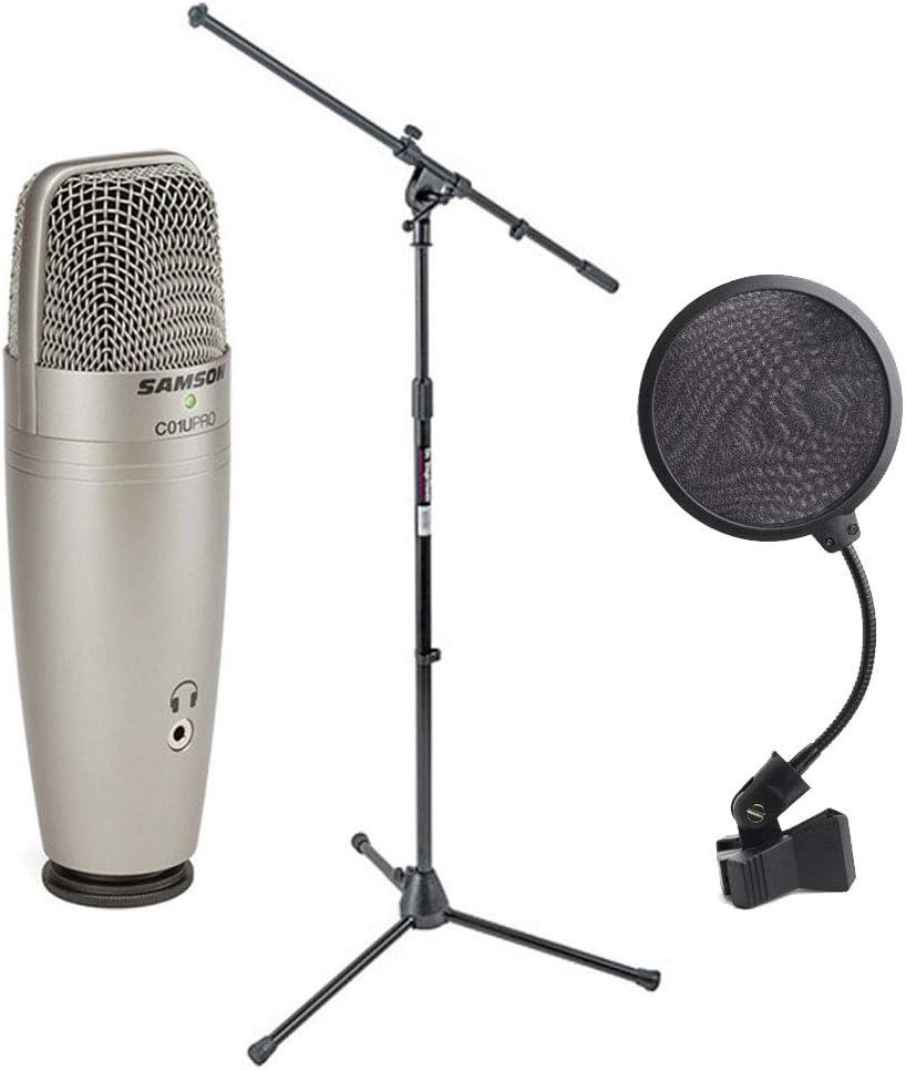 Samson C01U Pro USB Studio Condenser Microphone + On Stage MS7701B Euro Boom Microphone Stand + 6 inch Pop Filter