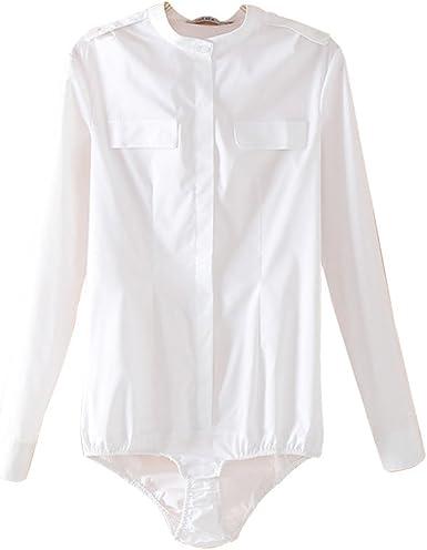 ZAMME Body de Blusa Blanca de Cuerpo Delgado para Mujer: Amazon.es: Ropa y accesorios