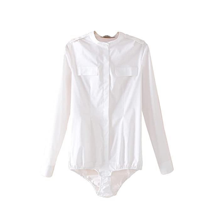 ZAMME Body de Blusa Blanca de Cuerpo Delgado para Mujer ...