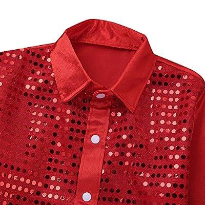 Alvivi Kids Boys Long Sleeve Sequin Shirt Tops Disco Hip-hop Jazz Dance Stage Performance Costumes: Clothing