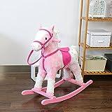 Kinbor Baby Kids Toy Plush Wooden Rocking Horse Boy Riding Rocker with Sound, Pink