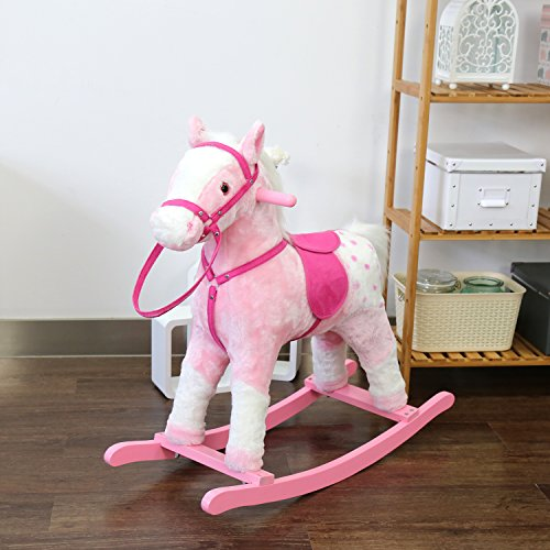 Kinbor Baby Kids Toy Plush Wooden Rocking Horse Boy Riding R