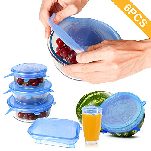 6PCS Silicone Stretch Lids, Fit Various Sizes and Shapes of Containers to Keeping Food Fresh, Dishwasher and Freezer Safe, Reusable, Durable and Flexible Silicone Food Cover