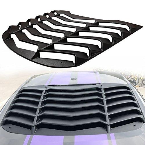 Danti Matte Black Rear Window Louvers Sun Shade Cover in GT Lambo Style For Ford Mustang 2015 2016 2017 2018